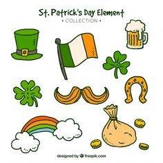Saint Patricks Day Art, Bujo Doodles, Royal Icing Decorations, St Pattys, Chalkboard Art, Vector Free, Saints, How To Draw Hands, Card Making