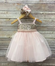 Petite Adele Pink & Gold Glitter Dress & Headband - Infant | zulily