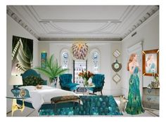 """Peacock Room"" by shelley-harcar ❤ liked on Polyvore featuring art"