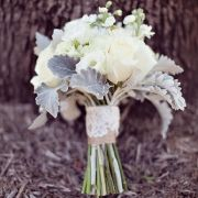 The perfect bouquet! Lambs ear, burlap & lace