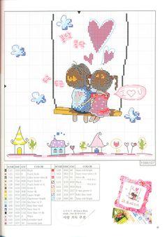 kids on a swing Cross Stitch Pictures, Cross Stitch Heart, Kawaii, Cross Stitch Embroidery, Cross Stitch Patterns, Love Valentines, Needlepoint, Needlework, Handmade