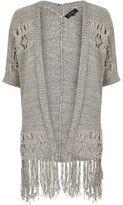River Island Womens Grey knitted crochet tassel cardigan