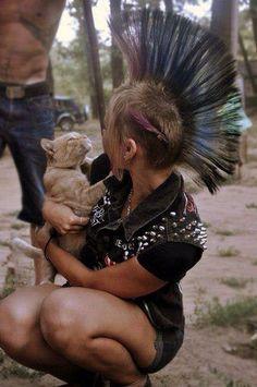 Punk girl, cat