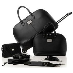 $99.95-Joy Mangano 5pc St. Tropez Runway Chic Classic Luggage  / MIDNIGHT BLUE  / ORANGE / LATTE