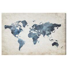 "Oliver Gal Unframed Wall ""Mapamundi New Worlds v2"" Canvas Art"