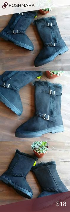 Black Suede Ugg Style Boot Calf Fur Pull On L Rue 21 Suede Pull On Boots. Calf height. Black with black trim. Super soft lining interior. Size L 8/9 Silver Buckles. Braided accent on front. Rue 21 Shoes Winter & Rain Boots