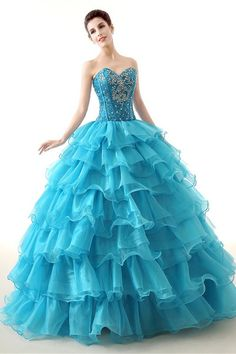 Elegant Ball Gown Turquoise Organza Ruffle Tiered Prom Dress Corset Back