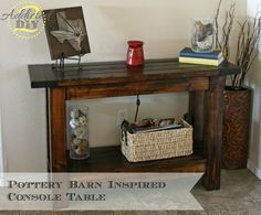 This Pottery Barn-Inspired Console Table is a simple beginner woodworking project and it only cost $60 to build!