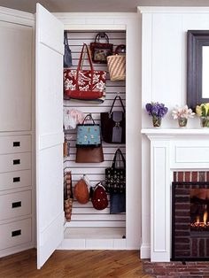 If you have an awkward space in your home that is going unused or has just been catching random clutter, repurpose it with slat wall, found at hardware stores and hooks. The results-a defined storage space. Handbag Storage, Handbag Organization, Organization Hacks, Organizing Tips, Hat Storage, Build A Closet, Hanging Clothes, Ideas Hogar, Slat Wall