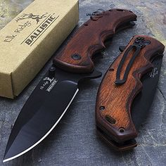 8.25″ ELK RIDGE EDC BROWN PAKKAWOOD ASSISTED TACTICAL FOLDING KNIFE Blade