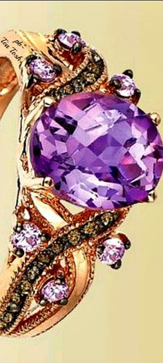 ❇Téa Tosh❇Le Vian, Pink Amethyst®, Chocolate Diamonds®,set in 14k. Strawberry Gold®