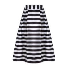SheIn(sheinside) Striped Zipper Flare Skirt ($24) ❤ liked on Polyvore featuring skirts, black, long satin skirt, long striped maxi skirt, flared maxi skirt, skater skirt and black skater skirt