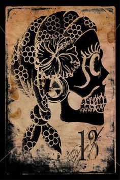 Gypsy Sugar Skull~Artwork by Shayne of the Dead Stretched Canvas Prints, Canvas Art Prints, Canvas Wall Art, Mexican Art, Skull And Bones, Samhain, Day Of The Dead, Find Art, Cool Art