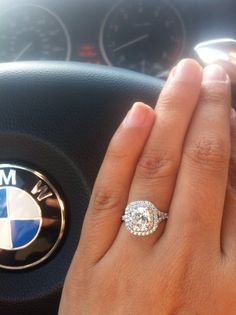 My bebe did good. Platinum halo cushion cut engagement ring. Cannot wait to marry him next summer <3