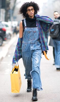 Here Are the Best Street Style Moments from Milan Fashion Week - DISTRESSED OVERALLS from InStyle.com