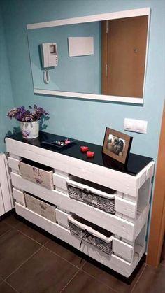 Muebles De Palets, Gabinete Con Cajas De Decoración