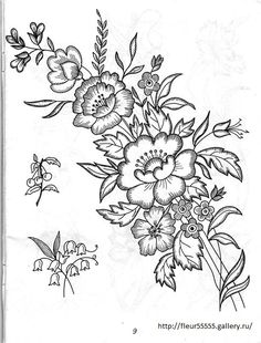 Brush Embroidery, Applique Embroidery Designs, Ribbon Embroidery, Embroidery Applique, Floral Embroidery, Cross Stitch Embroidery, Flower Patterns, Beading Patterns, Flower Designs