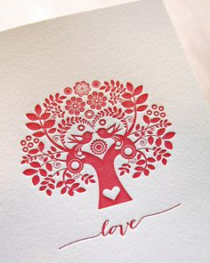 Card for wedding, Valentine's Day, Mothers day, tree of life Letterpress Card Scandinavian Folk Style Love hand lettering made in Australia