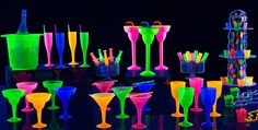 Shop black light party supplies for a memorable glow in the dark party. Browse for black lights, glow sticks, and neon party hats; find glow in the dark party ideas. Neon Birthday, Birthday Party For Teens, 18th Birthday Party, Birthday Ideas, Glow In Dark Party, Glow Party, Disco Party, Spa Party, Black Light Party Supplies