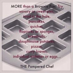 Pampered chef Brownie pan recipe suggestions x Pampered Chef Party, Pampered Chef Recipes, Muffin Tin Recipes, Mug Recipes, Brownie Pan, Brownie Recipes, Lasagna Cups, Dessert In A Mug, Mini Muffin Pan