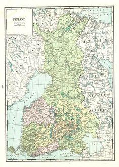 Finland Map, World Map Decor, Helsinki, Vintage World Maps, Antiques, Historia, Cartography, Antiquities, Antique