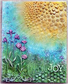 "Using the Balzer Designs ""Circle Explosion"" stencil -- Joy Canvas - *Blue Fern Studios DT* - Scrapbook.com"