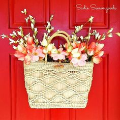 straw tote spring wreath door decor on the cheap, crafts, diy, home decor, repurposing upcycling, wreaths