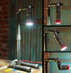Lampka industrialna z rur - Dekoracje i  Loftowe Meble Industrialne