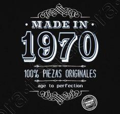 Camiseta Made in 1970. - nº 1270164 - Hombre, manga corta, negra, calidad extra. Sol's 190 gr/m2: 100 algodón semipeinado, 24/S hilo Ring Spun de calidad superior. Algodón preencogido. Tapacosturas reforzado en el cuello. Dis