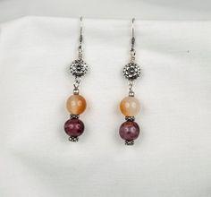 Purple And Yellow Earrings Beaded Earrings di LLDArtisticJewelry, $6.50