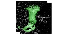 Elegant lime green feather mask with black and pearl background masquerade party invitation. This beautiful black and lime green masquerade party invitation works well for a Quinceanera or sweet sixteen masquerade party, womans birthday masquerade party, Carnival or Mardi Gras masquerade party, masquerade prom invitation, or any other black and lime green theme masquerade party and is easily customized for your event by adding your event details, font style, font size & color, and wording...