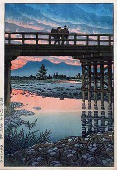 hanga gallery . . . torii gallery: Iwai Bridge, Nozu Sakuyama by Kawase Hasui