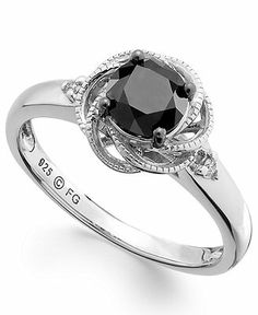 Sterling Silver Ring, Black and White Diamond Twist Halo Engagement Ring  Web ID: 1059102 Macys