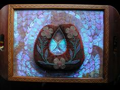 1920s Blue Morpho Butterfly wing tray with a 19th century American Indian beaded pillow.