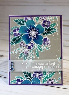 Sending Hugs and Happy Thoughts card, OOAK Get Well Card Senden von Umarmungen und Happy Thoughts-Karte, OOAK Get Well Card Source by . Altenew Cards, Stampin Up Cards, Pretty Cards, Cute Cards, Flower Sketches, Embossed Cards, Card Making Techniques, Get Well Cards, Card Making Inspiration