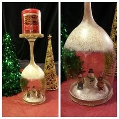 Do it yourself Wine Glass Snowglobe Candle holder! Very easy to do and under $5.00