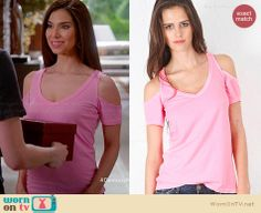 Carmen's pink cold shoulder tee on Devious Maids.  Outfit Details: http://wornontv.net/33553/ #DeviousMaids