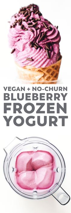 This Blueberry Frozen Yogurt Recipe is a healthy summer snack made in the blender with 5 ingredients. Optionally swirled for extra YUM! Desserts Keto, Vegan Dessert Recipes, Vegan Sweets, Frozen Desserts, Healthy Sweets, Delicious Desserts, Frozen Treats, Healthy Deserts, Healthier Desserts