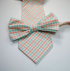 Mint and Peach Plaid Neckties and Bow Ties by tuxandtulle on Etsy, $28.00