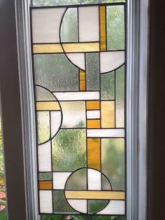 Abstract Stained Geometric Glass Panel for Window | eBay