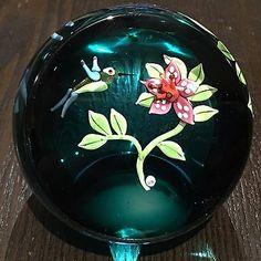 "William Manson Large ""Hummingbird"" and Orchid Ltd Ed Paperweight NIB w/ COA"