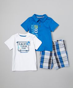 This Blue & White 'Calvin Klein Jeans' Tee Set - Infant by Calvin Klein Jeans is perfect! #zulilyfinds