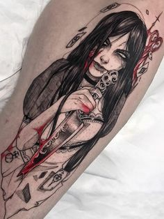 Alba Kurogosu > Alice in Madness Badass Tattoos, Cool Tattoos, Anime Tattoos, Tatoos, Full Hand Tattoo, Hawaiian Goddess, Arte Lowrider, Dark Tattoo, Tattoo Ink