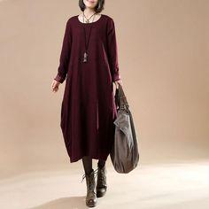 8f0f0790d2 Autumn Large Size Women's Long Sleeve Wool Dress Plus Size Spring Dresses,  Fall Dresses,