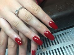 #Red nails, #gel extensions, #squoval, #classic nails