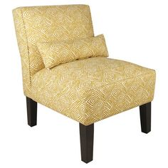 Geometric-print side chair with foam cushioning and a pine wood frame. Handmade in the USA.  Product: ChairConstruct...