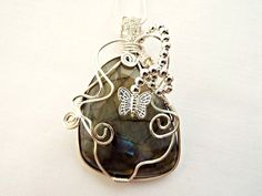 OOAK Wire Wrapped Labradorite Cabochon Necklace with Butterfly £15.00