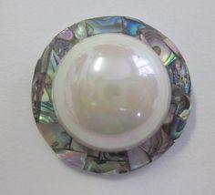 Medium Pearlized Plastic and Laminated Abalone Shell Button.  OneWomanRepurposed B 244 by OneWomanRepurposed on Etsy