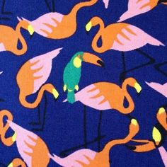 Sevenberry - Flamingoes & Parrots (Blue) - Sew Scrumptious Fabrics