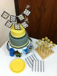 Yellow and gray baby shower cake